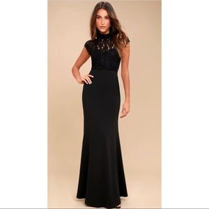 Crazy About You Black Backless Lace Dress